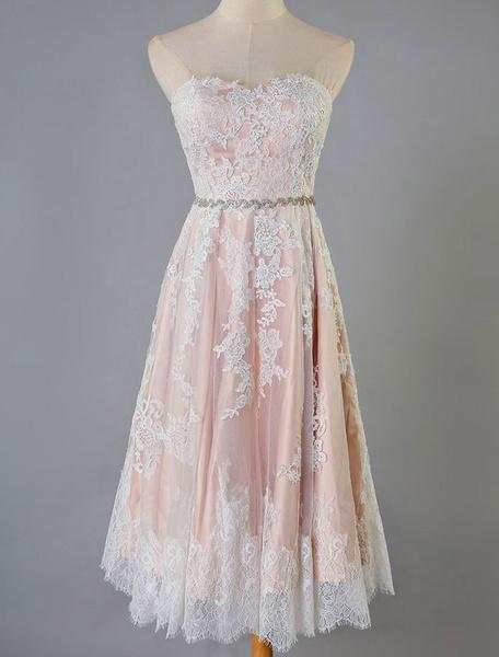 Milanoo Short Bridal Dresses Blush Pink Lace Strapless Sash Colored Wedding Reception Dress