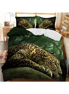 Leopard Lie On The Rock In The Green Forest Printed 3-Piece Comforter Sets