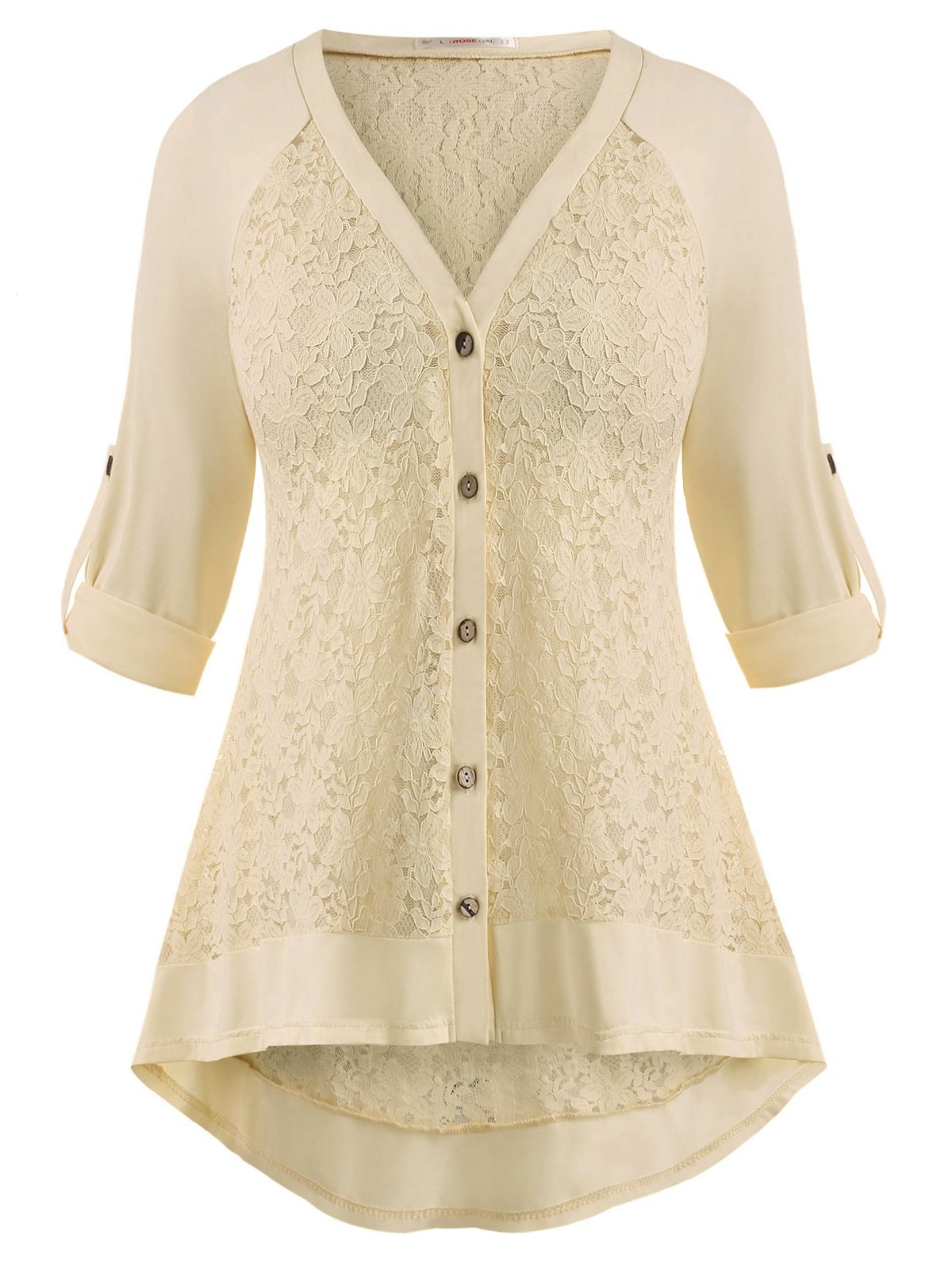 Raglan Sleeve Lace Panel Button Up Plus Size Top