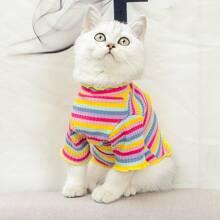 1 Stueck Katze T-Shirt mit Streifen