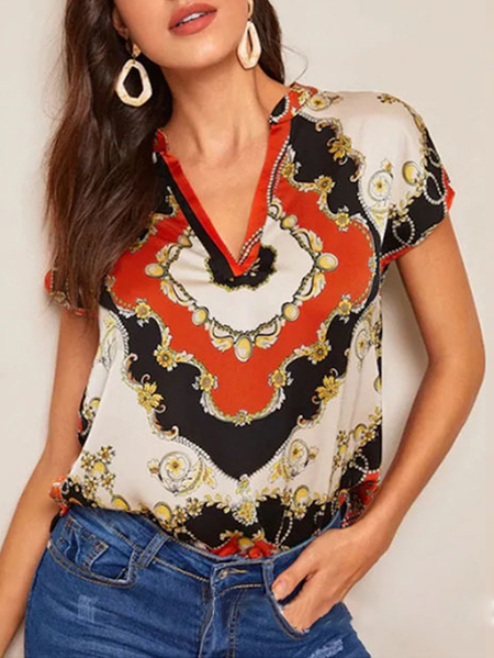 Yoins Scarf Print V-neck Short Sleeves Blouse