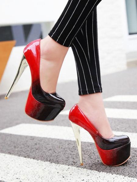 Milanoo Zapatos de tacon alto sexy para mujer Zapatos con punta redonda verde