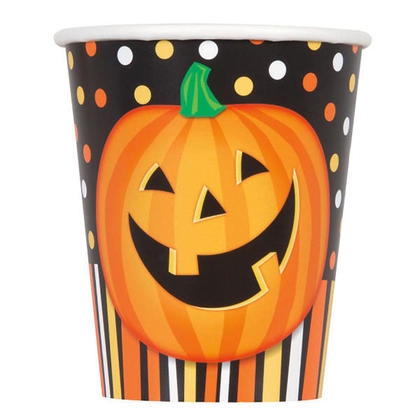 Happy Halloween Pumpkin Drinking Cups for Home Party Decor, 9 oz. 8Pcs/Pack