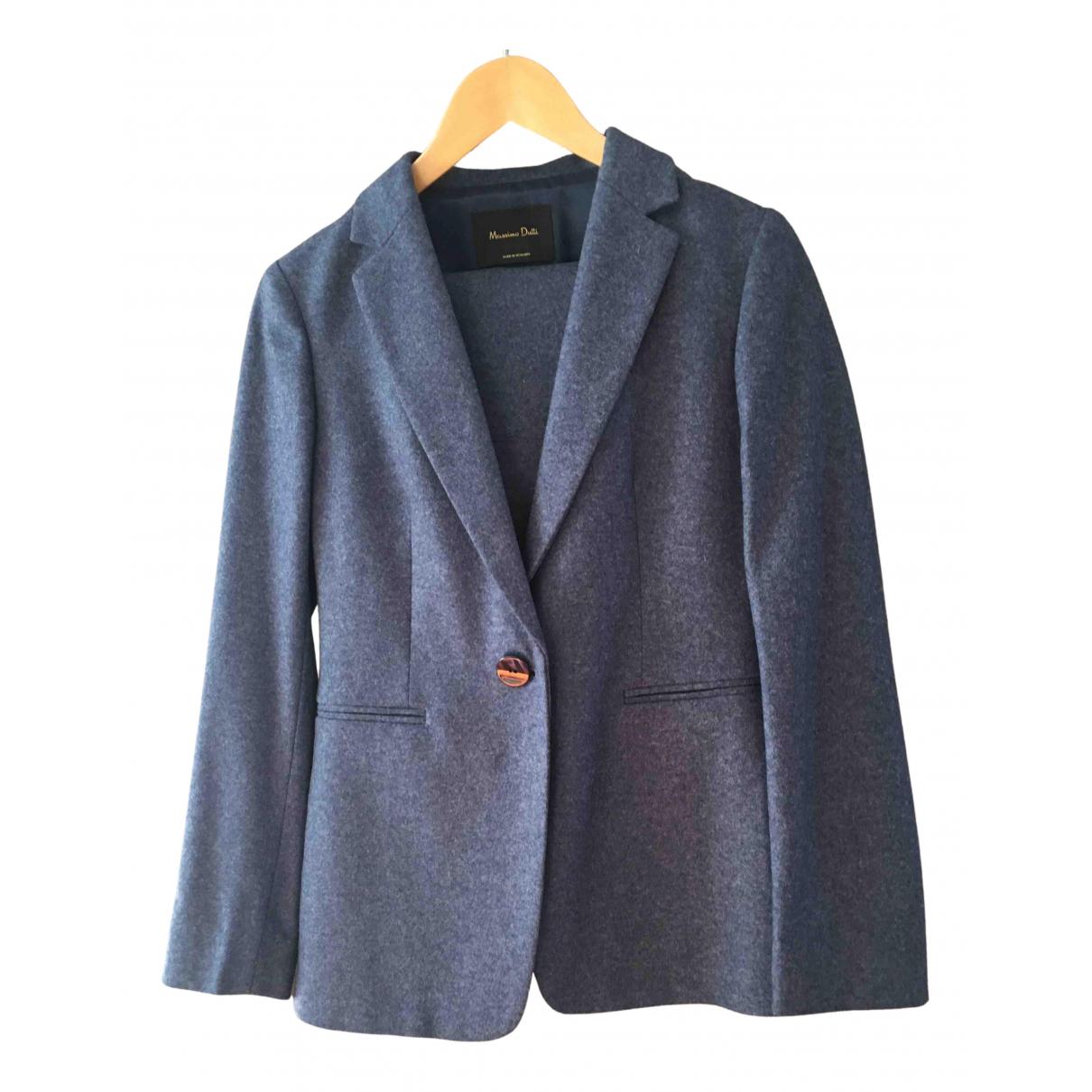 Massimo Dutti - Veste   pour femme en laine - bleu