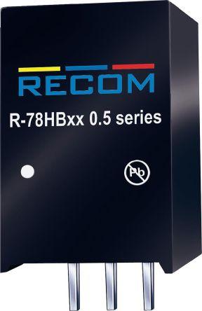 Recom Through Hole DC-DC Switching Regulator, 12V dc Output Voltage, 17 → 72V dc Input Voltage, 500mA Output