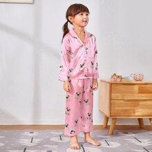 Satin Schlafanzug Set mit Karikatur Hund Muster