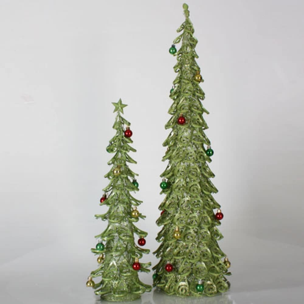 Set of 2 Lime Green Glitter Mesh Artificial Christmas Tree Tabletop Decors 3' - 3 Foot (Green - Metal)