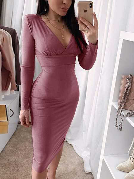 Yoins Wrap Design V-neck Long Sleeves Bodycon Suede Dress
