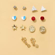 7pairs Heart & Star Decor Stud Earrings