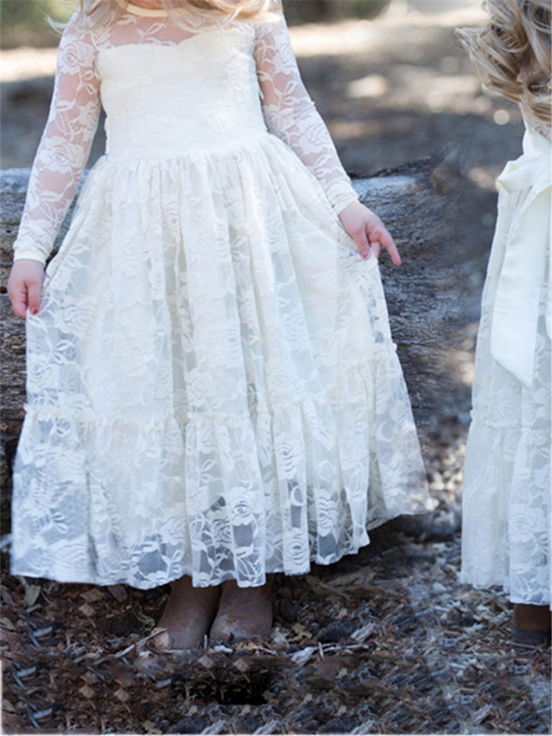 Ericdress Lace Long Sleeves A Line Flower Girl Dress