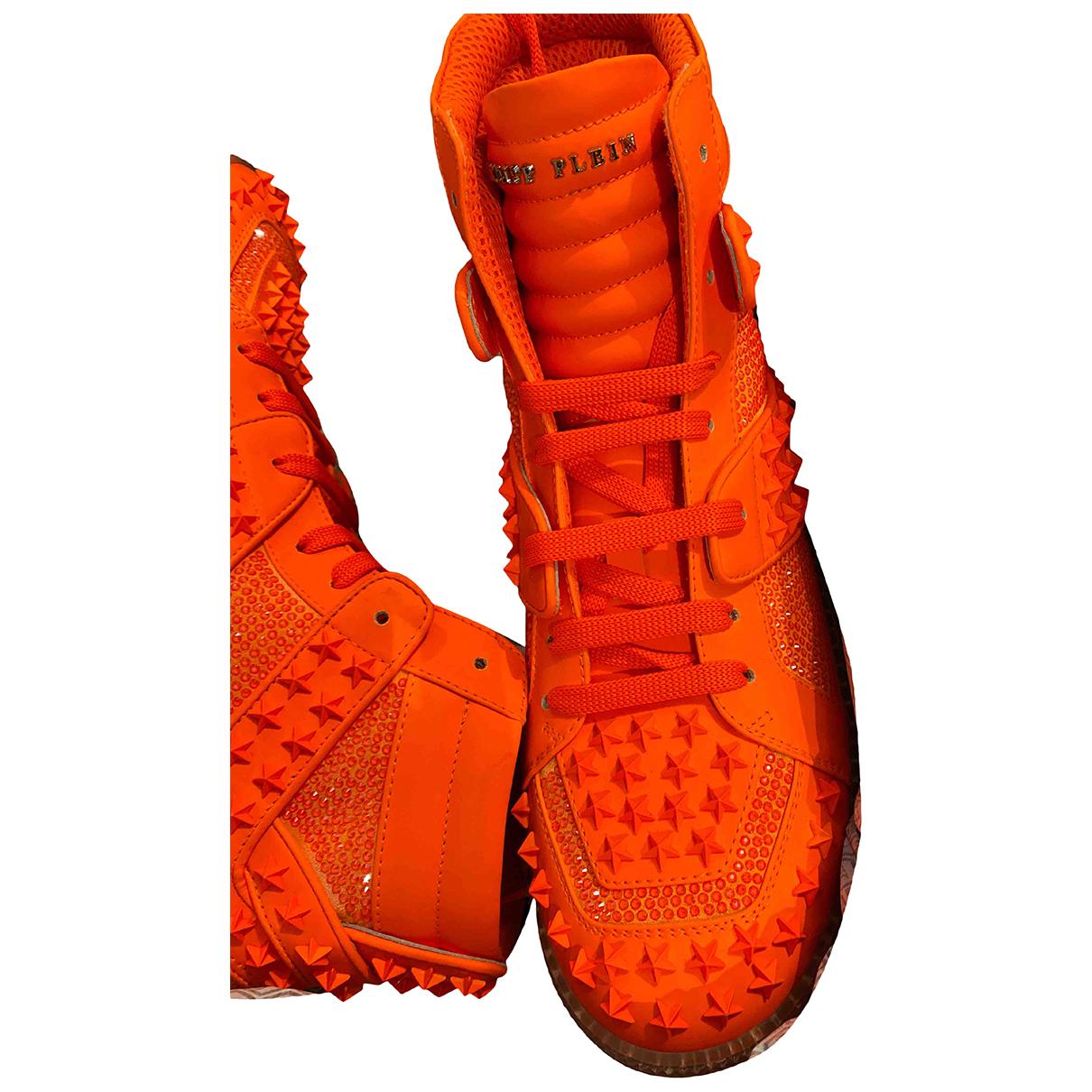 Philipp Plein - Baskets   pour homme en cuir - orange
