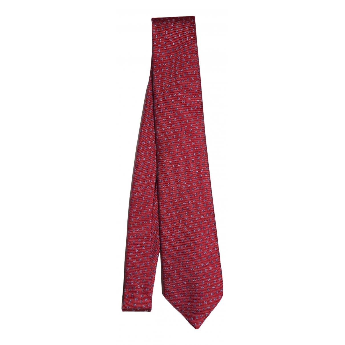 Hermes \N Krawatten in  Rot Seide