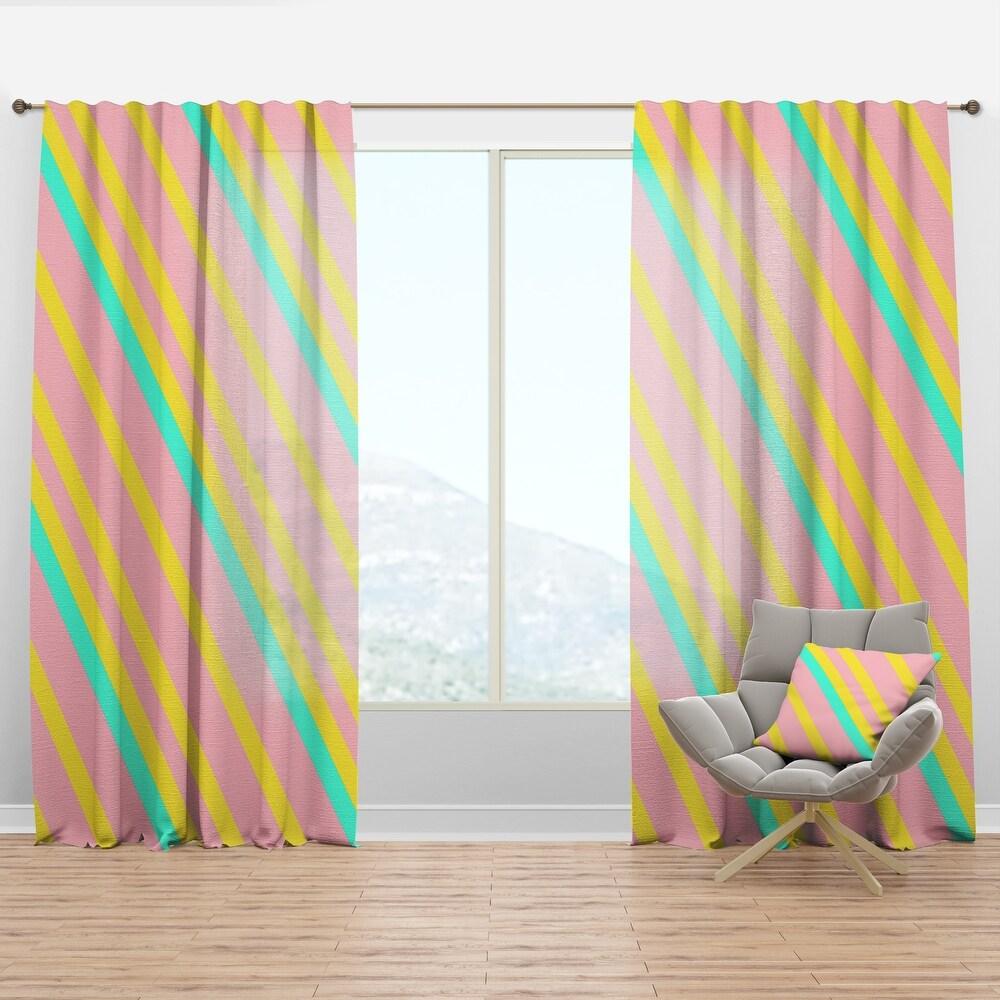 Designart 'Memphis Retro Neon Pattern' Mid-Century Modern Curtain Panel (50 in. wide x 90 in. high - 1 Panel)