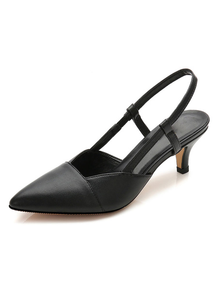 Milanoo Kitten Heel Pumps Apricot Pointed Toe Slingbacks Slip On Shoes For Women