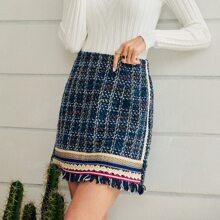 Tweed Rock mit ausgefranstem Saum und Karo Muster