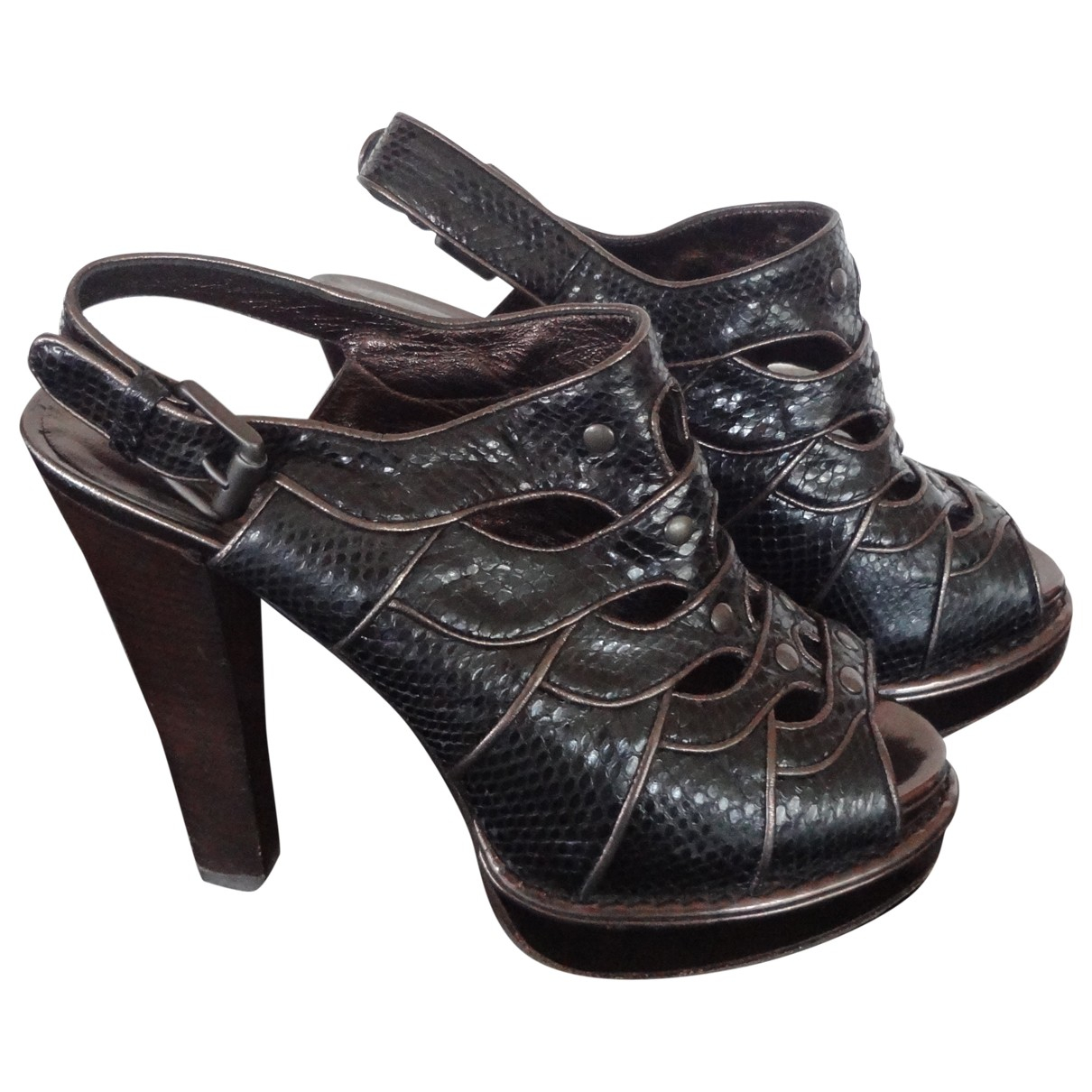 Bottega Veneta \N Brown Python Sandals for Women 37 EU