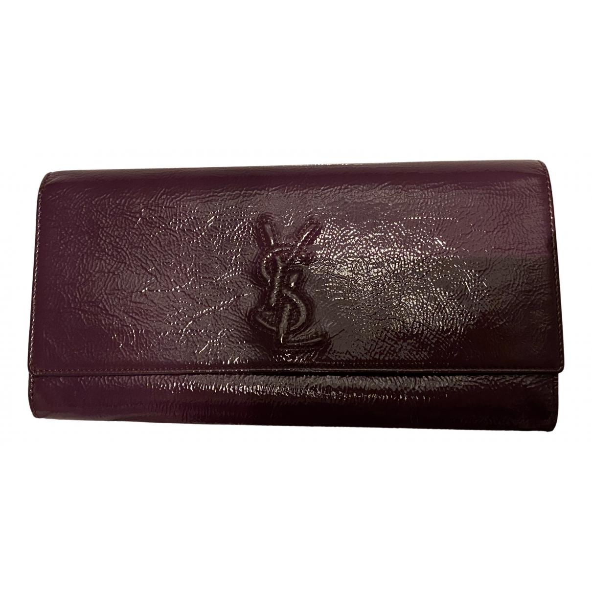 Yves Saint Laurent Belle de Jour Purple Patent leather Clutch bag for Women \N