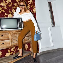 Zipper Fly Pocket Patched Straight Leg Cropped Pants