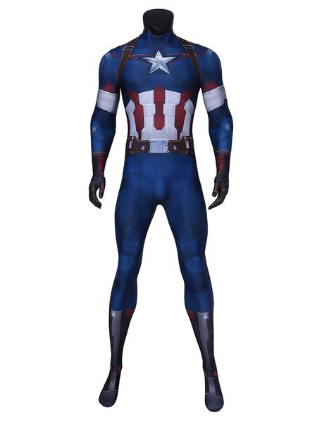 Milanoo Marvel Comics Marvel\'s The Avengers Captain America Cosplay Costume Film Lycra Spandex Catsuits
