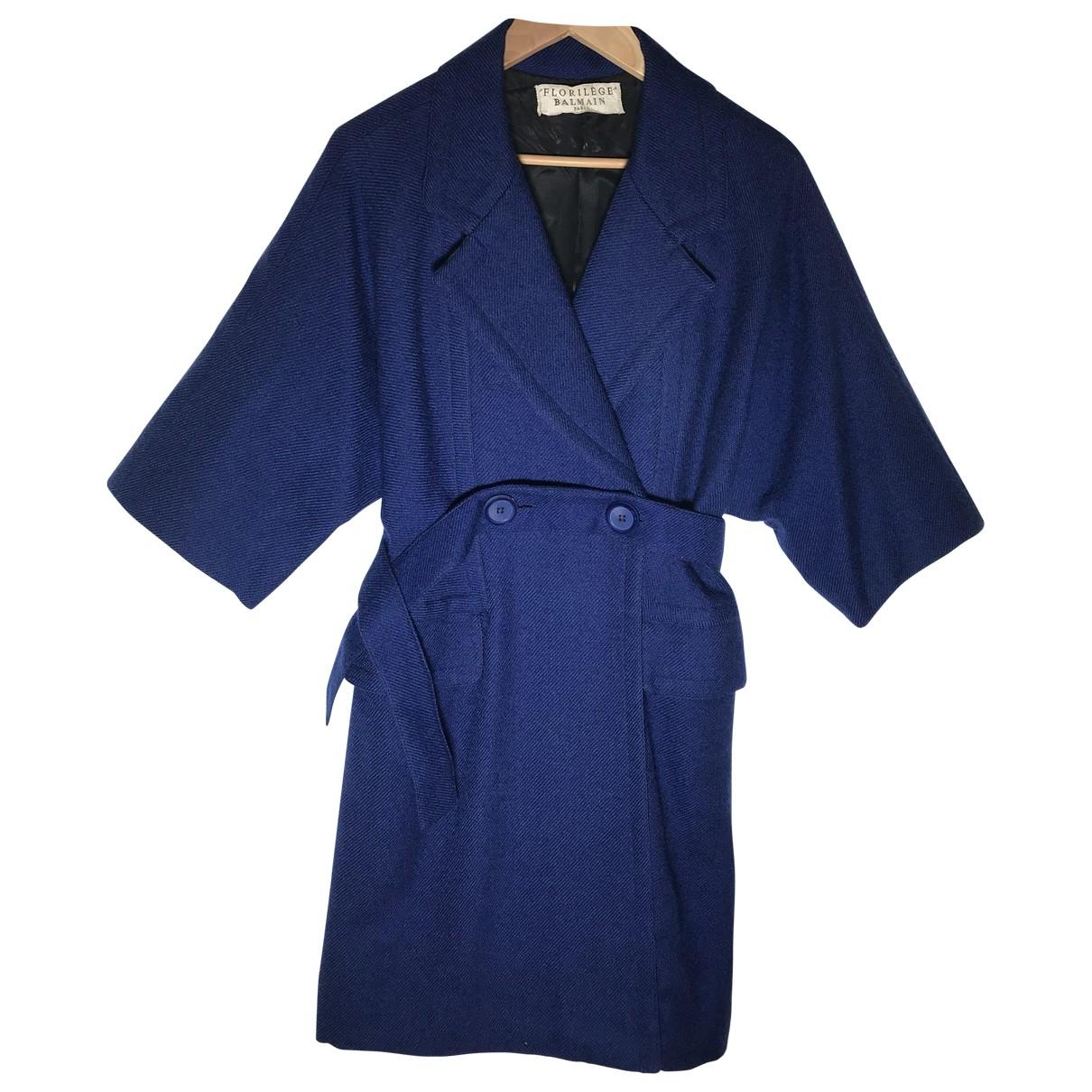 Balmain \N Blue Wool coat for Women 36 FR