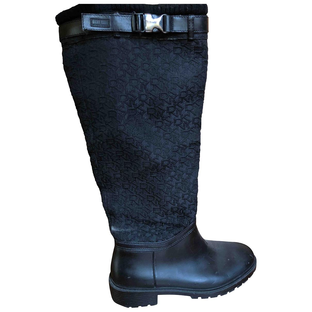 Dkny - Bottes   pour femme en caoutchouc - noir