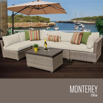MONTEREY-06a-BEIGE Monterey 6 Piece Outdoor Wicker Patio Furniture Set 06a with 2 Covers: Beige and