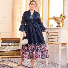 Knopfe  Gebluemt Elegant Kleider Grosse Grossen