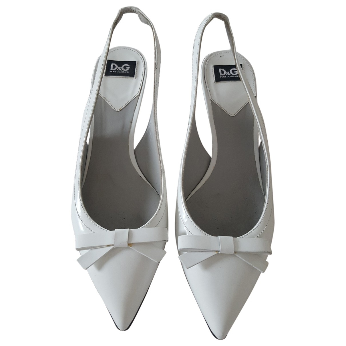 D&g \N White Leather Heels for Women 37 EU