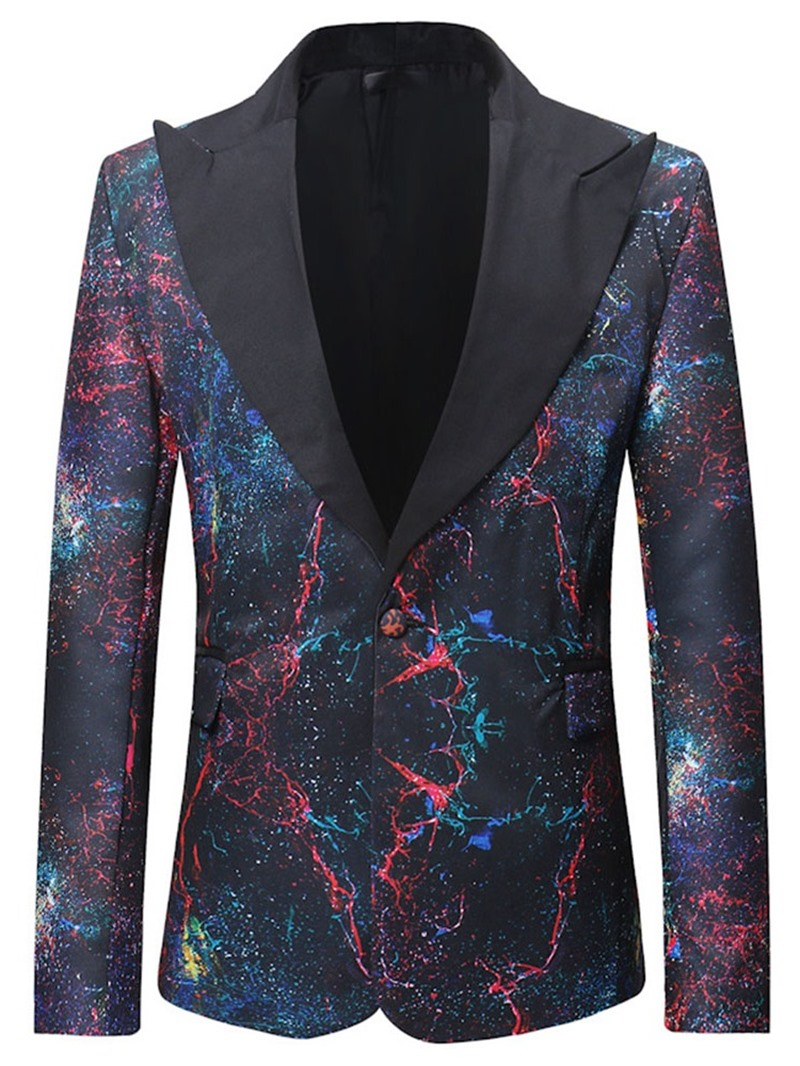 Ericdress Casual One Button Print Mens Leisure Blazers