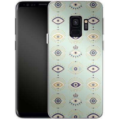 Samsung Galaxy S9 Silikon Handyhuelle - Evil Eyes Mint von Cat Coquillette