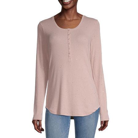 a.n.a Womens Henley Neck Long Sleeve Henley Shirt, Small , Pink