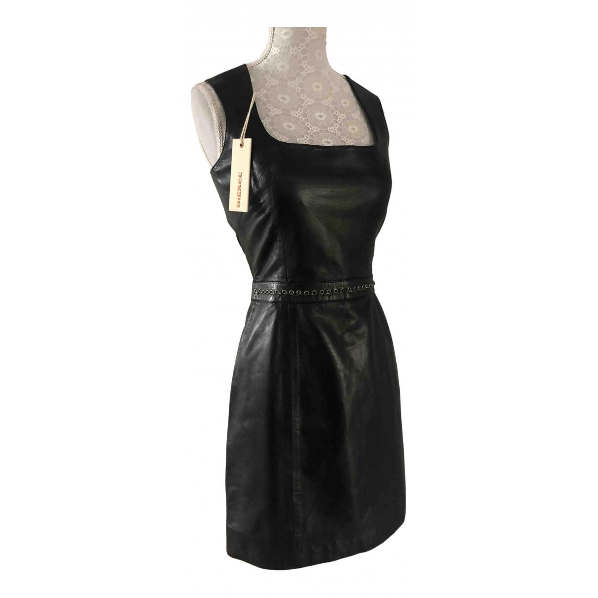 Diesel Black Gold N Black Leather dress for Women XS International