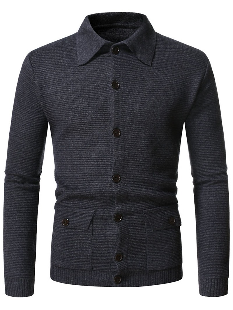Ericdress Pocket Plain Standard Single-Breasted European Mens Coat Sweater