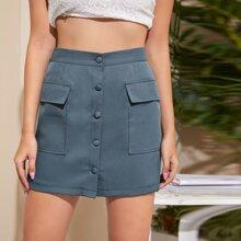 Flap Pocket Button Front Skirt