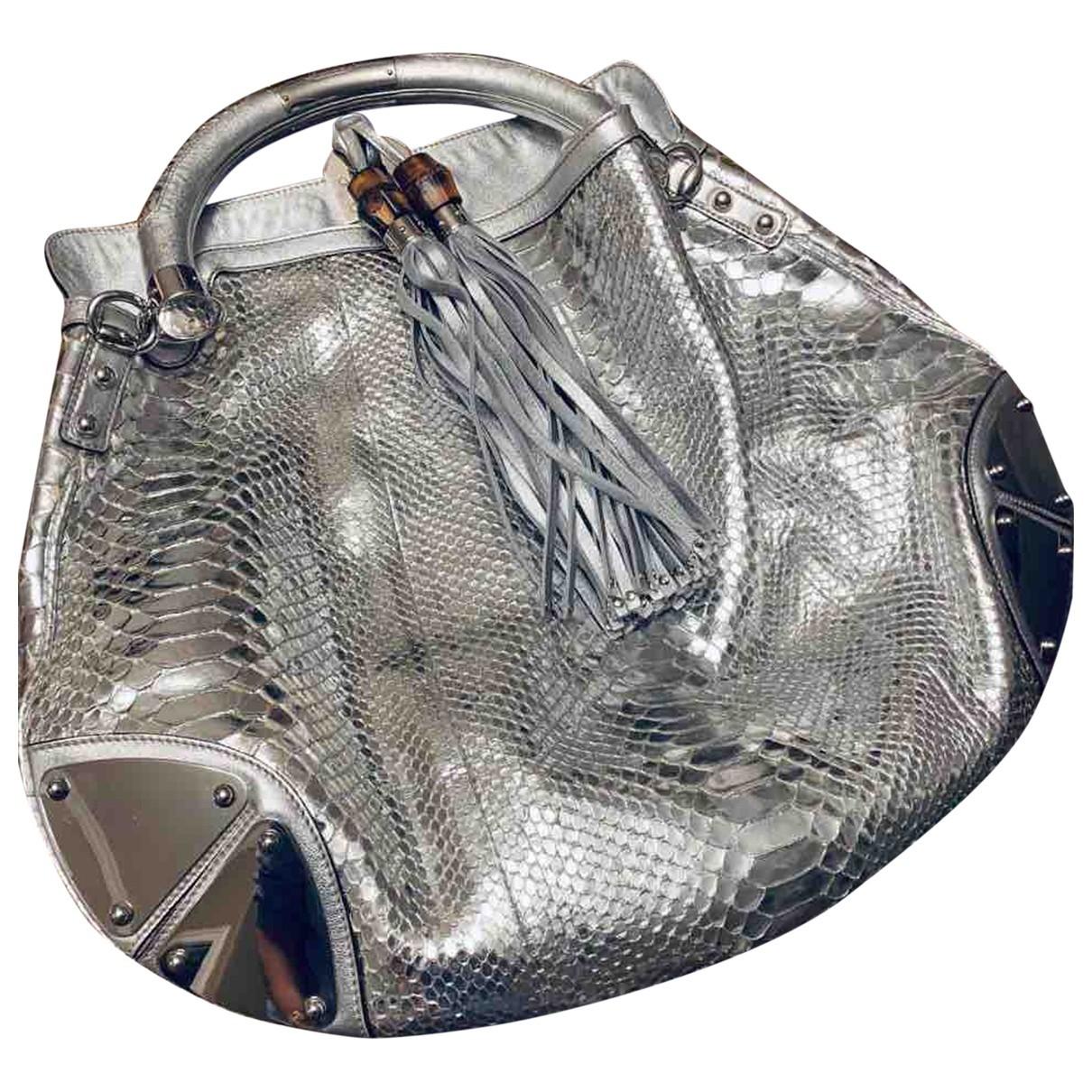 Gucci Indy Handtasche in  Silber Python