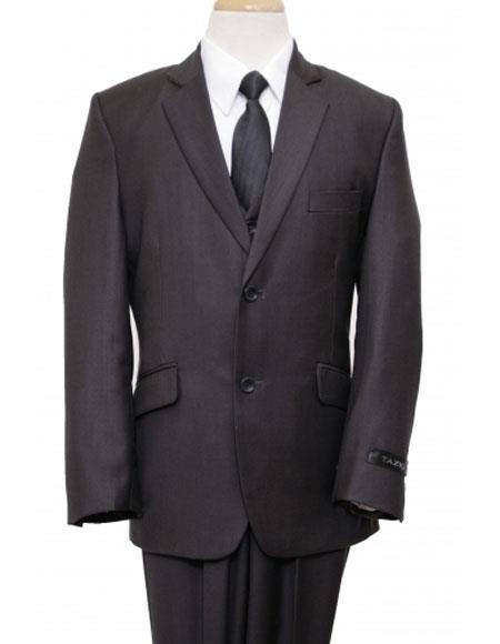 Husky Cut Boy Suit 2 Button Style Black Vested Suit