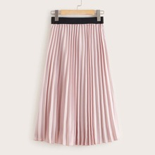 Falda fruncido midi de cintura elastica