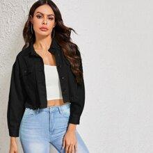 Jeans Jacke mit Waesche und ausgefranstem Saum