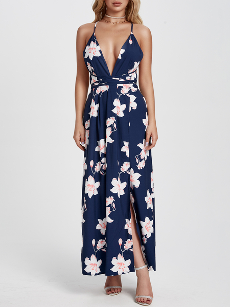 Yoins Navy Deep V-neck Backless Random Floral Maxi Dress