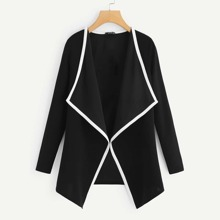 Plus Contrast Binding Waterfall Neck Coat