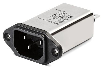 Schaffner ,3A,250 V ac Male Panel Mount IEC Filter FN9222EU-3-06,Faston