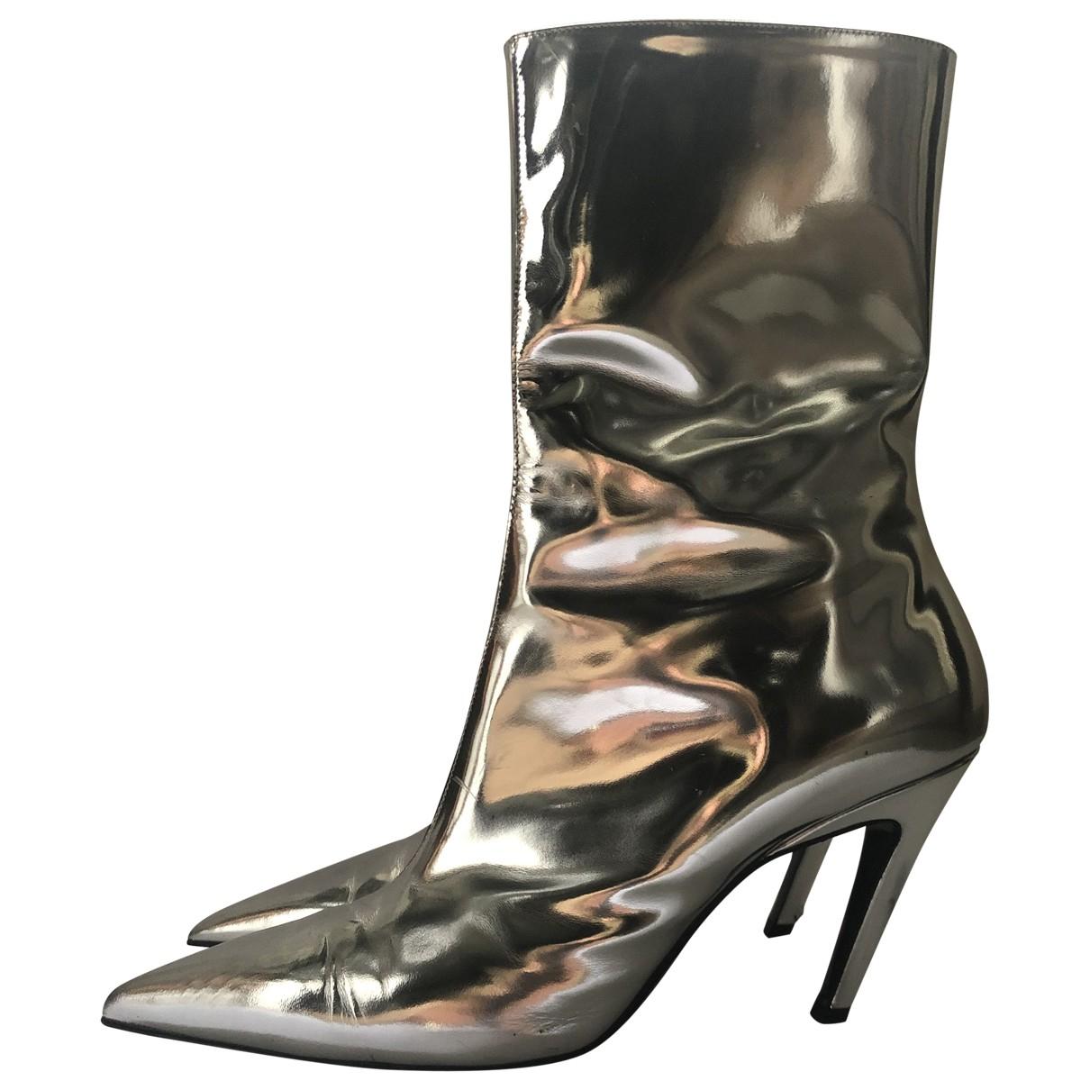 Balenciaga \N Stiefeletten in  Silber Leder
