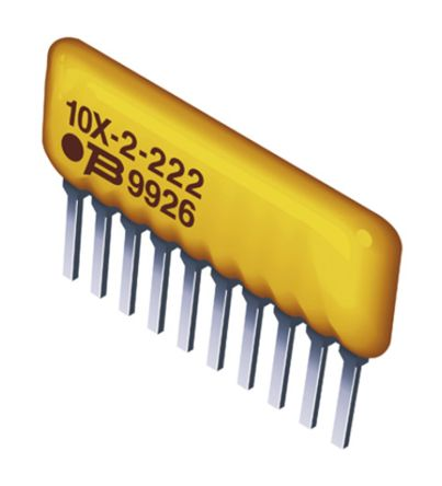 Bourns 4600X Series 10kΩ ±2% Isolated Through Hole Resistor Array, 2 Resistors, 0.5W total SIP package Pin (50)