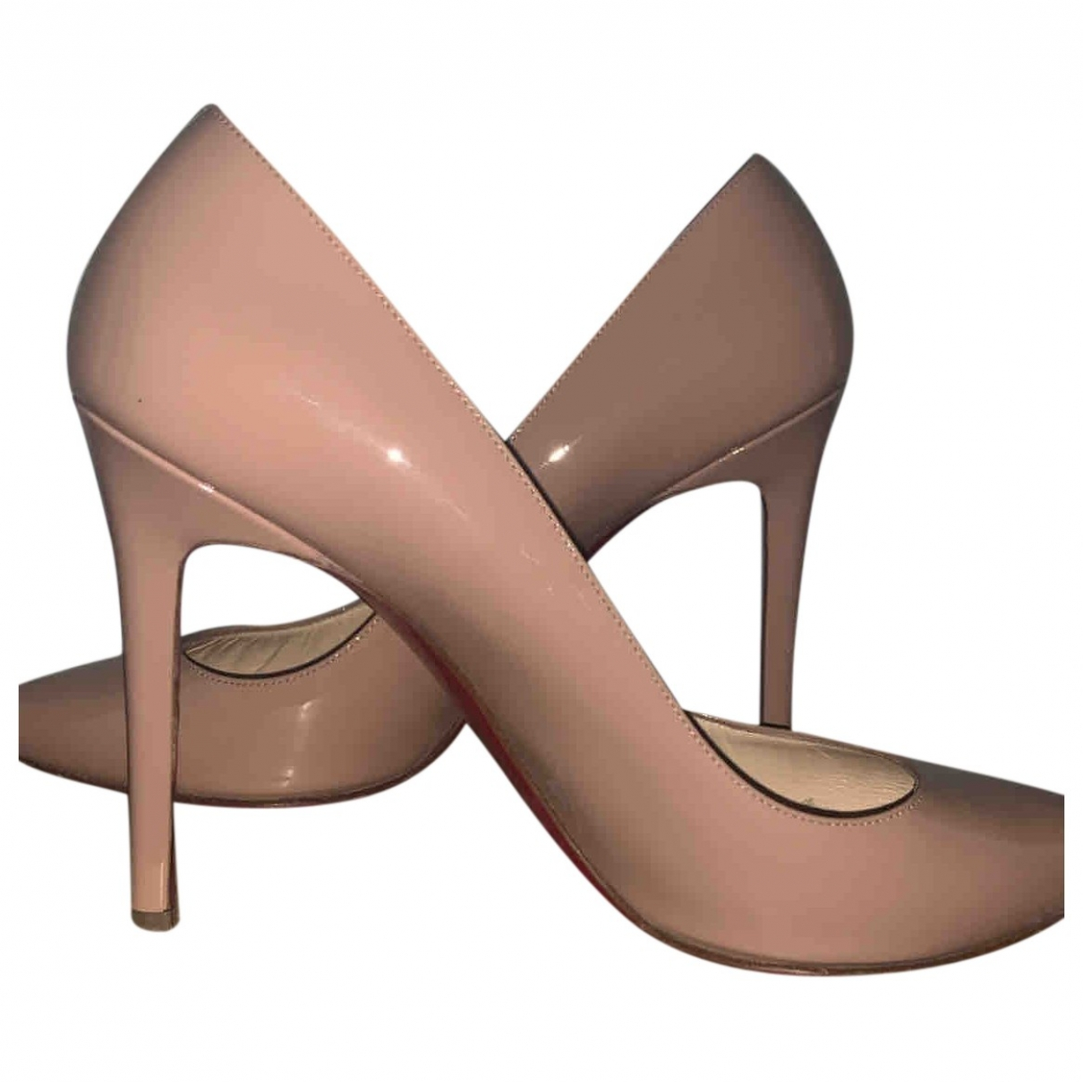 Christian Louboutin Pigalle Beige Leather Heels for Women 40 EU