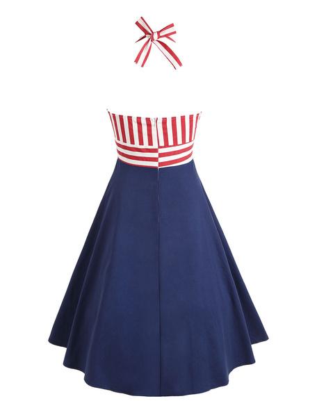 Milanoo Women Vintage Dress Halter Retro Dress Striped Knotted Summer Dress