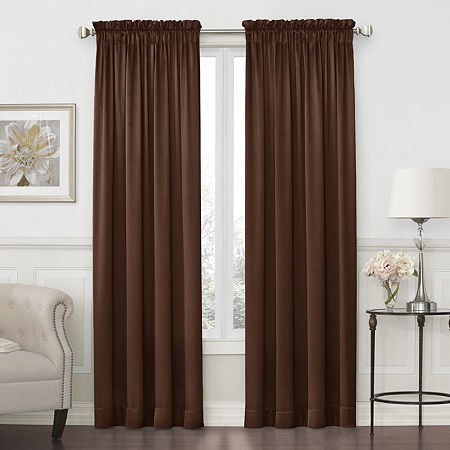 JCPenney Home Hilton Light-Filtering Rod-Pocket Single Curtain Panel, One Size , Brown