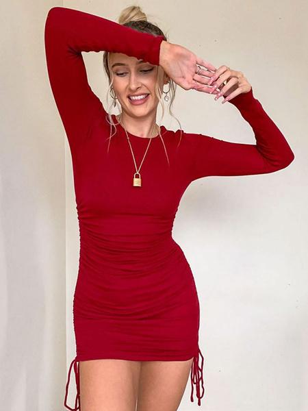 Milanoo Vestidos ajustados rojos Vestido de tubo corto fruncido con cuello joya y manga larga con cordon