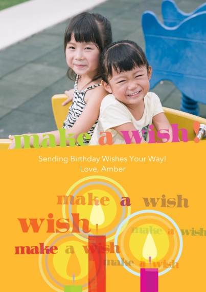 Birthday Greeting Cards Flat Glossy Photo Paper Cards with Envelopes, 5x7, Card & Stationery -Make A Wish