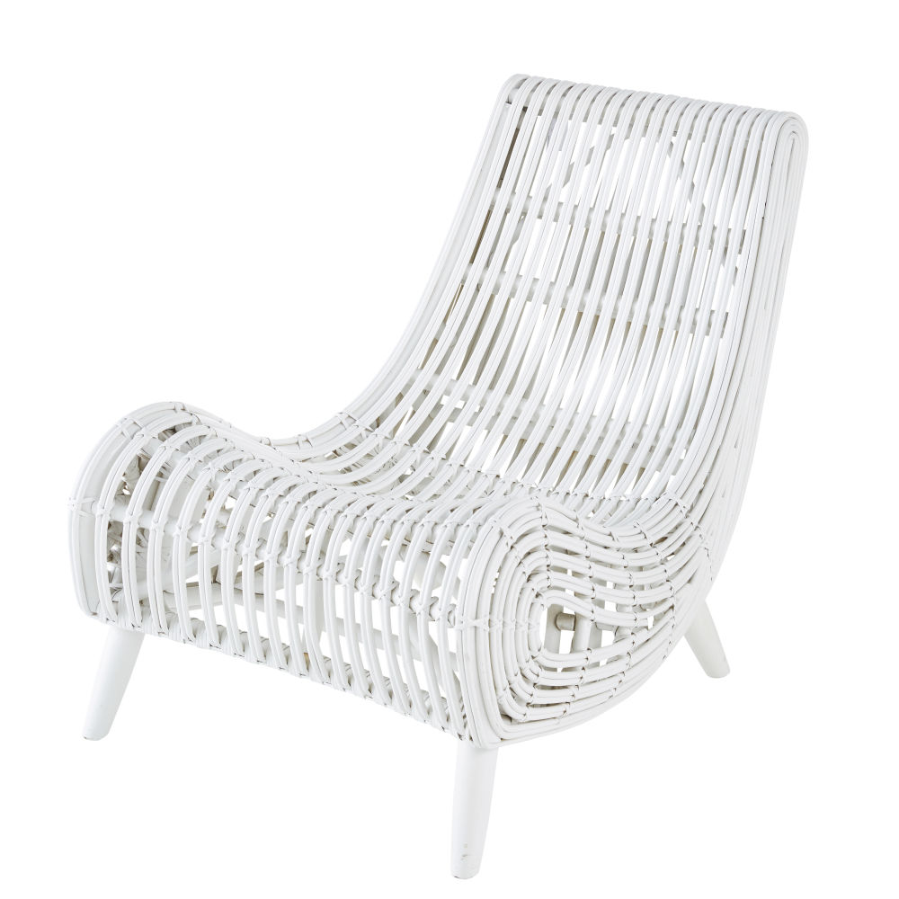 Sessel aus Mahagoniholz und geflochtenem weissem Rattan Mohi