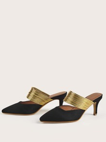 Metallic Point Toe Suede Heeled Mules